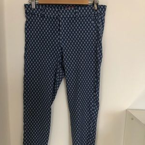 Anthropologie blue printed cropped pants.